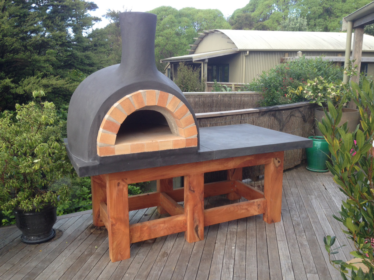 Custom Black Pizza Oven And Prep Area